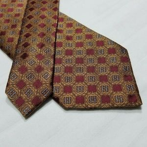 100% Silk PRIVATE STOCK Maroon/Gold/Blue Tie ~3""